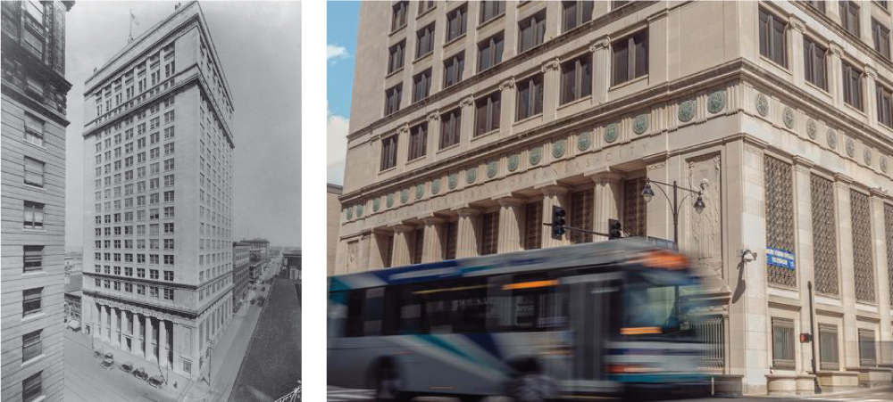 Federal Reserve Building building on 9th & Grand circa 1928, and now in present day.