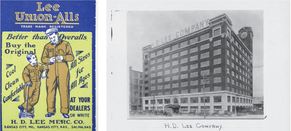 Lee's Union Alls, invented in 1913 and manufactured in Kansas City's Crossroads Historic Freight District. H.D. Lee Mercantile Company, 1917 | H.D. Lee Mercantile Building in the Historic Freight District of Kansas City, circa 1928.