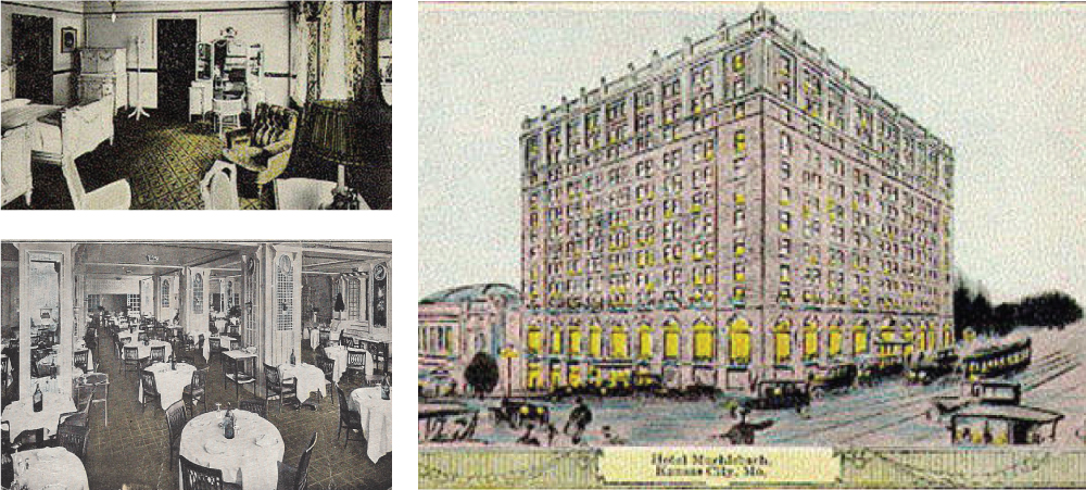 Historic Muehlebach Hotel as it was in 1915 seen in this promotional post card. The State Suite was the location that the Muehlebach's finest guests would have stayed - including many U.S. Presidents. The Plantation Grill inside historic Muehlebach Hotel.