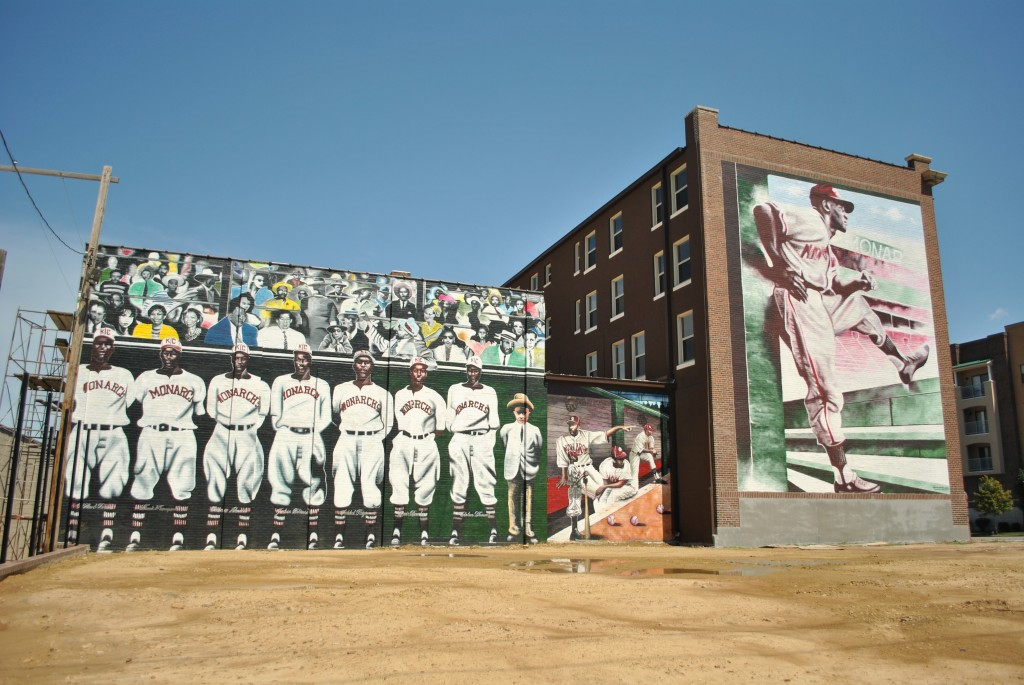 The north side of the Paseo YMCA building, today the Buck O'Neil Education & Research Center, is home to these murals depicting the Kansas City Monarchs.