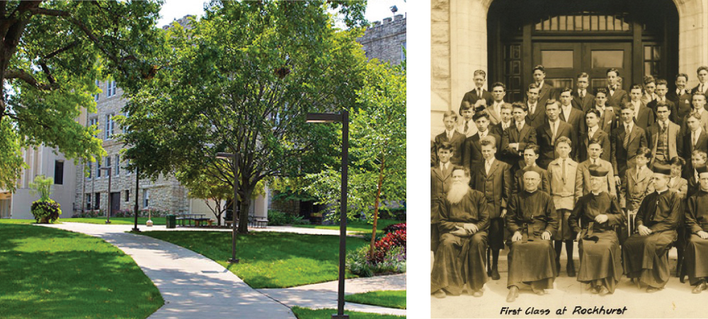 Sedgwick Hall, built in 1914, was the first building on the Rockhurst University campus. First graduating class at Rockhurst College.