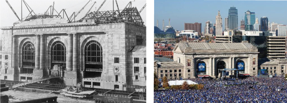 Union Station during construction in the 1910's & Union Station last fall during the Royal's Celebration rally.