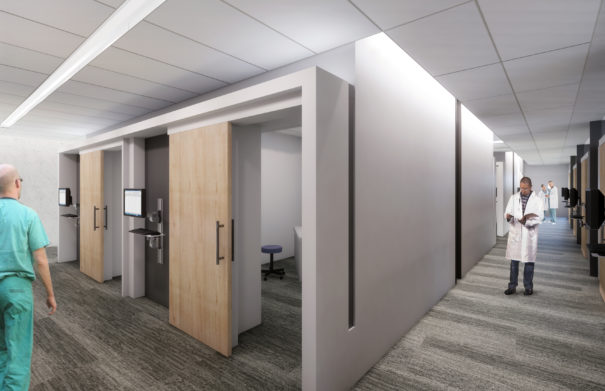 Rendering of the exam corridor at KCU Center for Medical Education Innovation