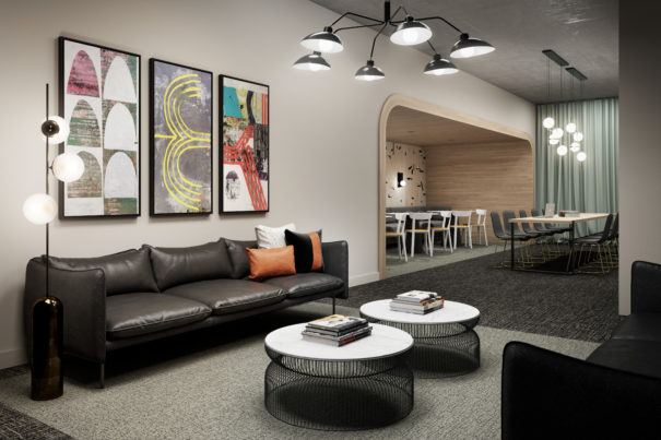 Rendering of business lounge