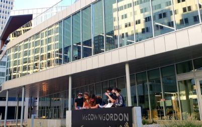 Girl Scouts at McCownGordon headquarters during architecture scavenger hunt
