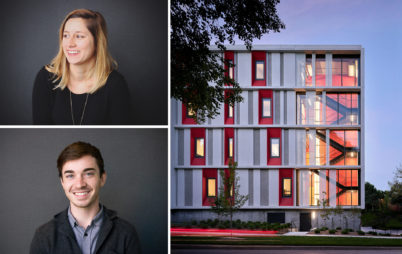 Photos of Ellen Hailey, Travis Snell, and the KCAI Residence Hall