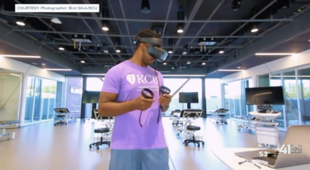 Student using virtual reality to learn